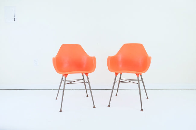 Sam Avedon Orange Mid Century Chairs for Alladin Plastics