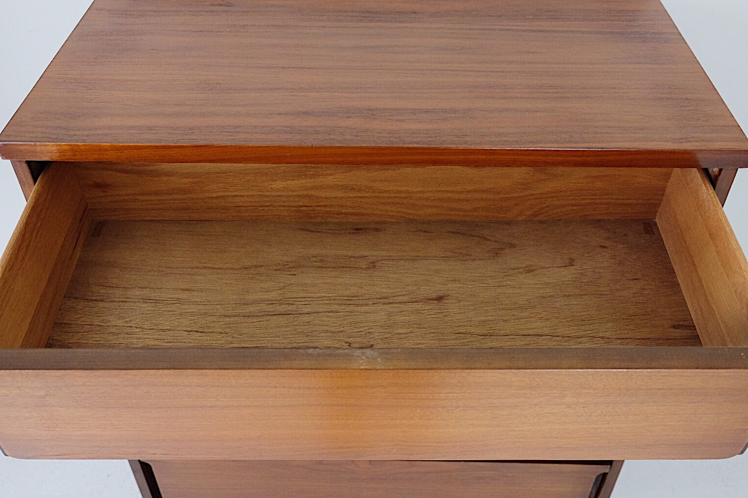 Scandinavian Walnut Mid Century Modern Tallboy Four Drawers Carved Handle