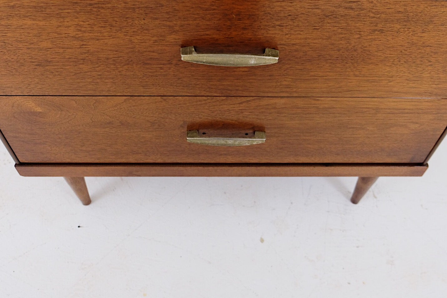 Mid Century Modern Tall Dresser Four Drawers Beautiful Brass Handles Two Tone Inset Detail