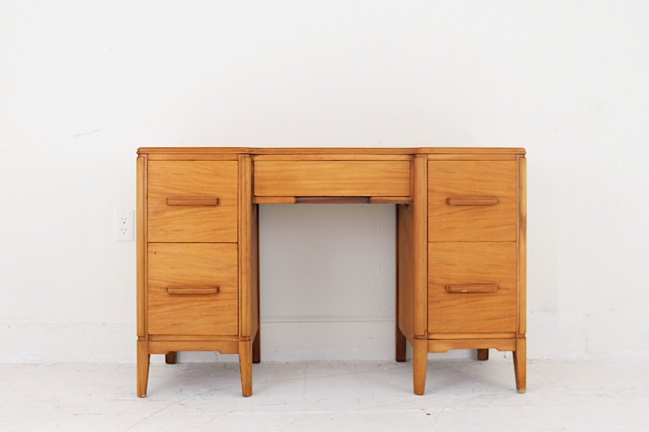 Early Mid Century 1950s Kneehole Vanity Desk Five Drawers Carved Wood Handles