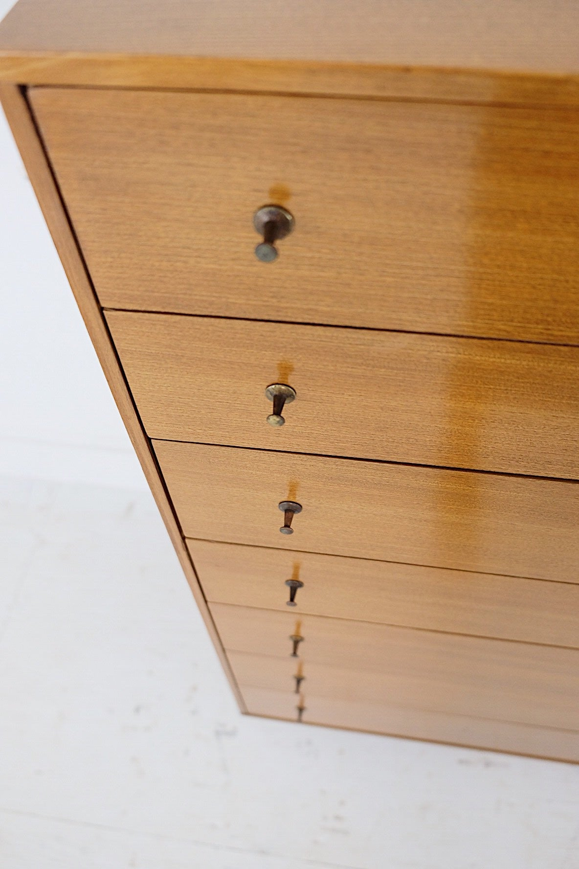 Beautiful Beech Tall Dresser Thumbtack Push Pin Pulls Mid Century Modern