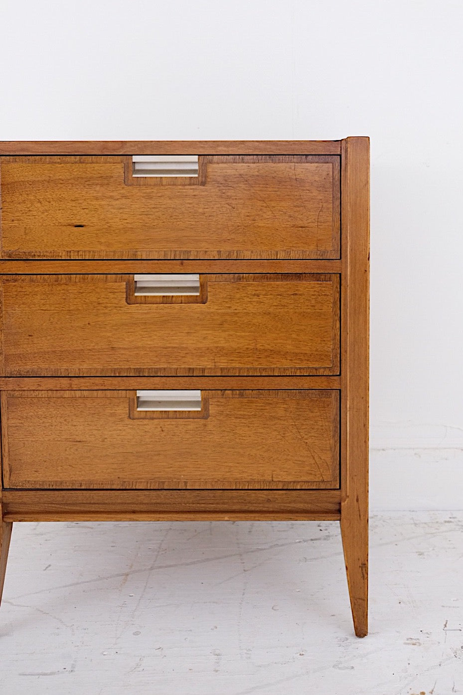 Basic Witz Bachelors Small Chest Three Drawers Mid Century Modern Steel Metal Handles