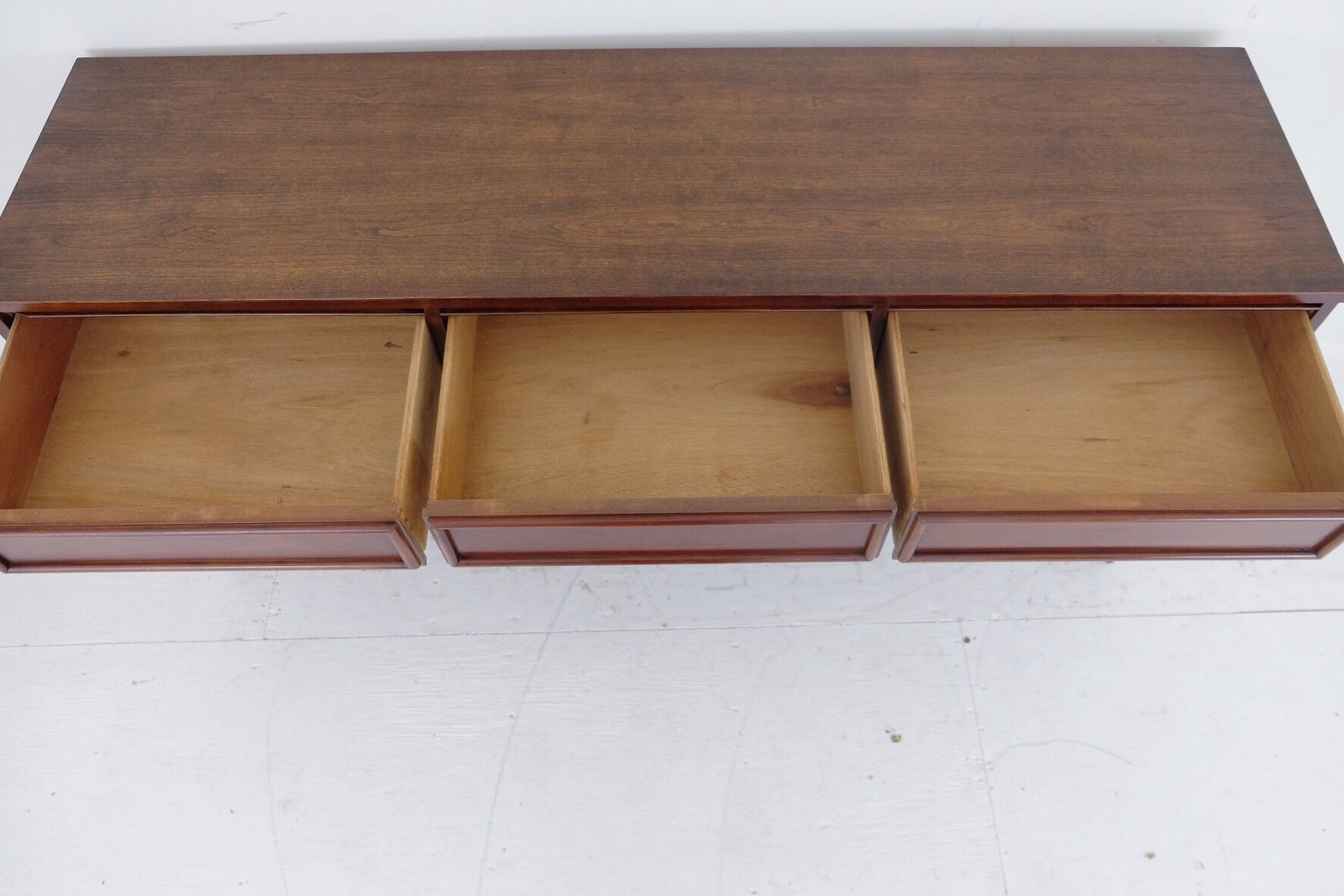 Low Mid Century Dresser Nine Drawers with Framed Drawer Fronts Rich Dark Brown