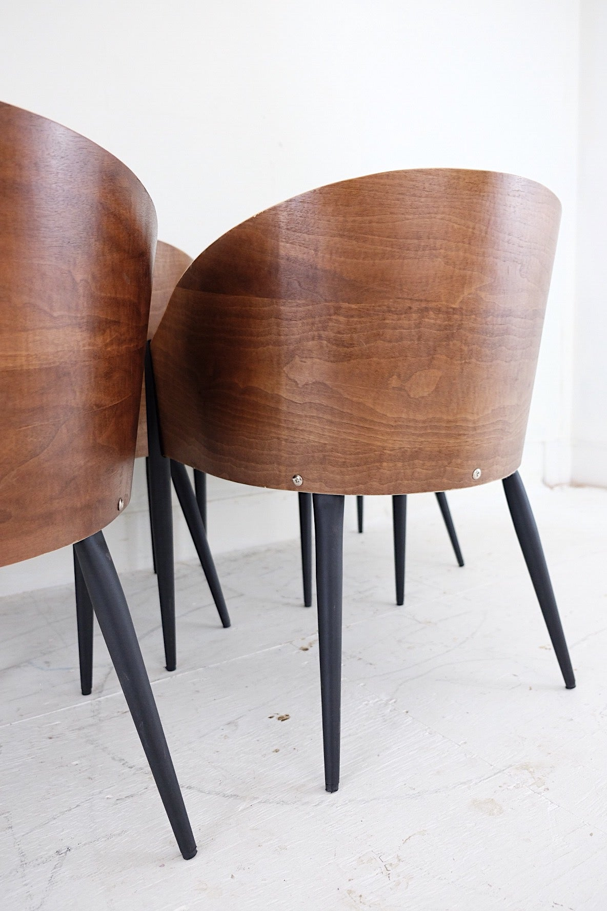 Five Walnut Mid Century Modern Inspired Chairs