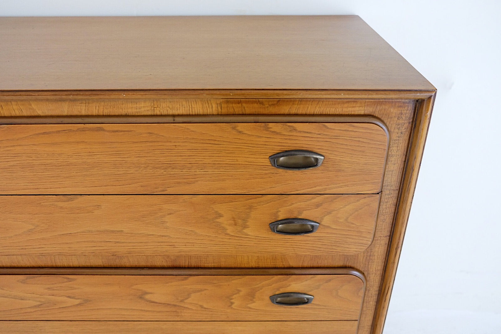 National Furniture Co. Mt Airy North Carolina Tall Dresser Brass Inset Handles Rounded Brass Capped Legs Five Drawers