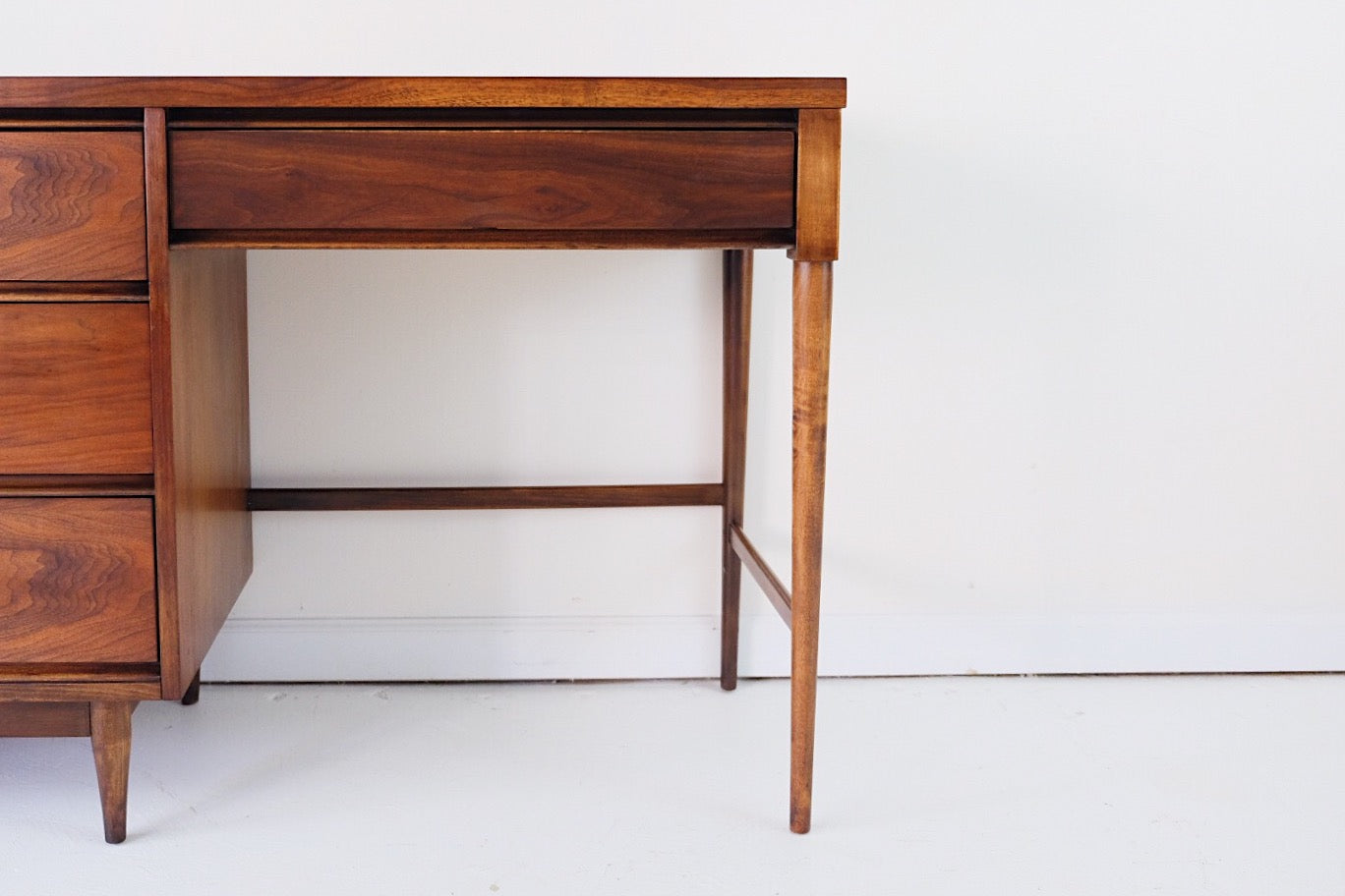 Mid Century Modern Desk Walnut Veneer Solid Wood Core Finished On All Sides
