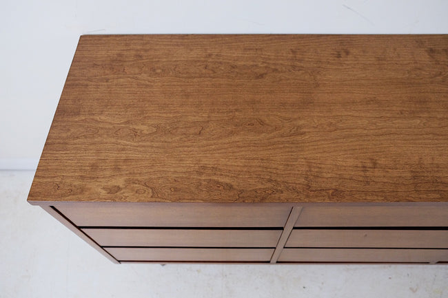 Bassett Low Nine Drawer Dresser Walnut Veneer Contrasting Rosewood Laminate Inset Behind Drawers New Cherry Veneer Top