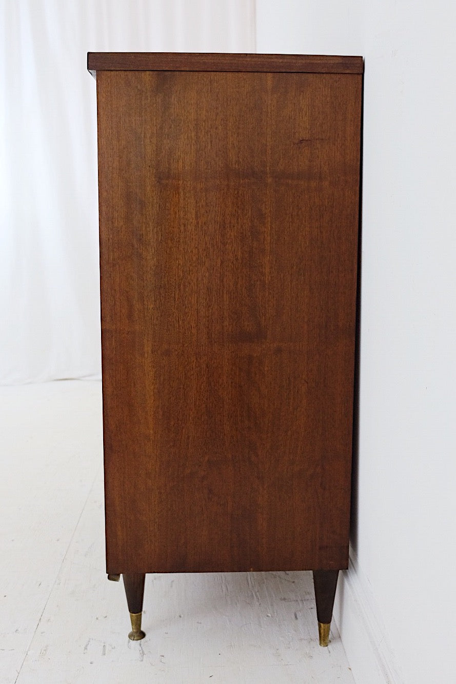 American of Martinsville Style Tall Dresser Carved Front New Walnut Veneer Top Patina Brass Handles Brass Capped Legs New Veneer Top