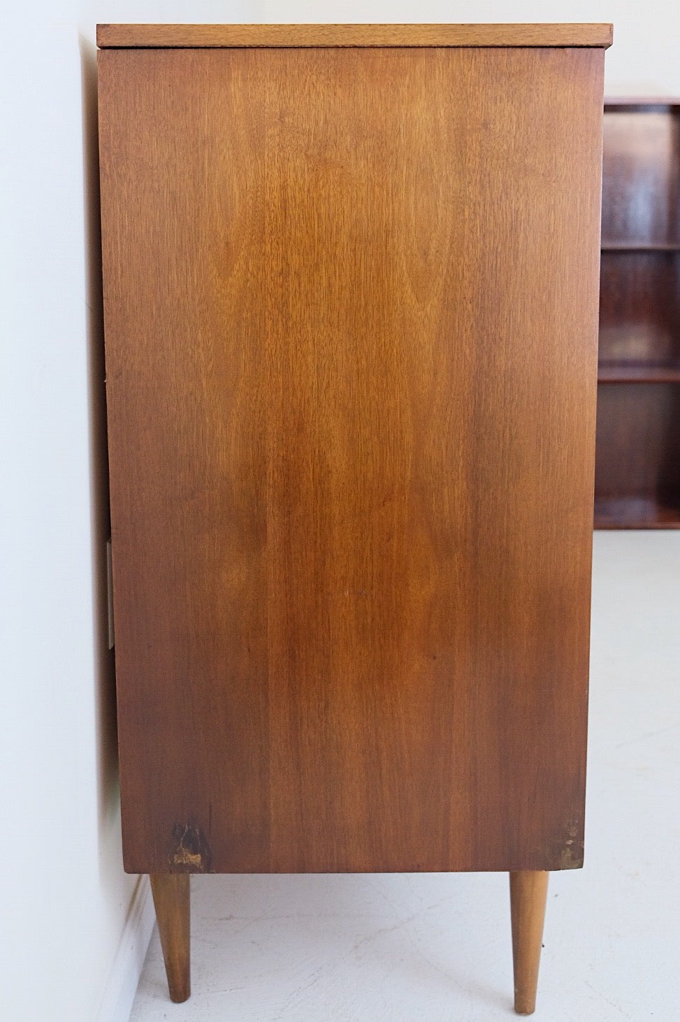 Mid Century Modern Tall Dresser Four Drawers Indented Carved Handles Scooped