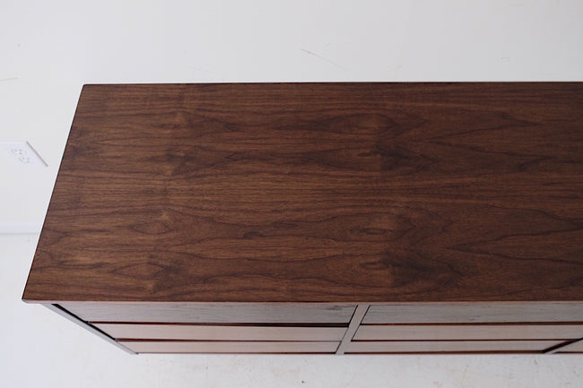 Tonal Mid Century Modern Low Triple Dresser Nine Drawers New Walnut Veneer