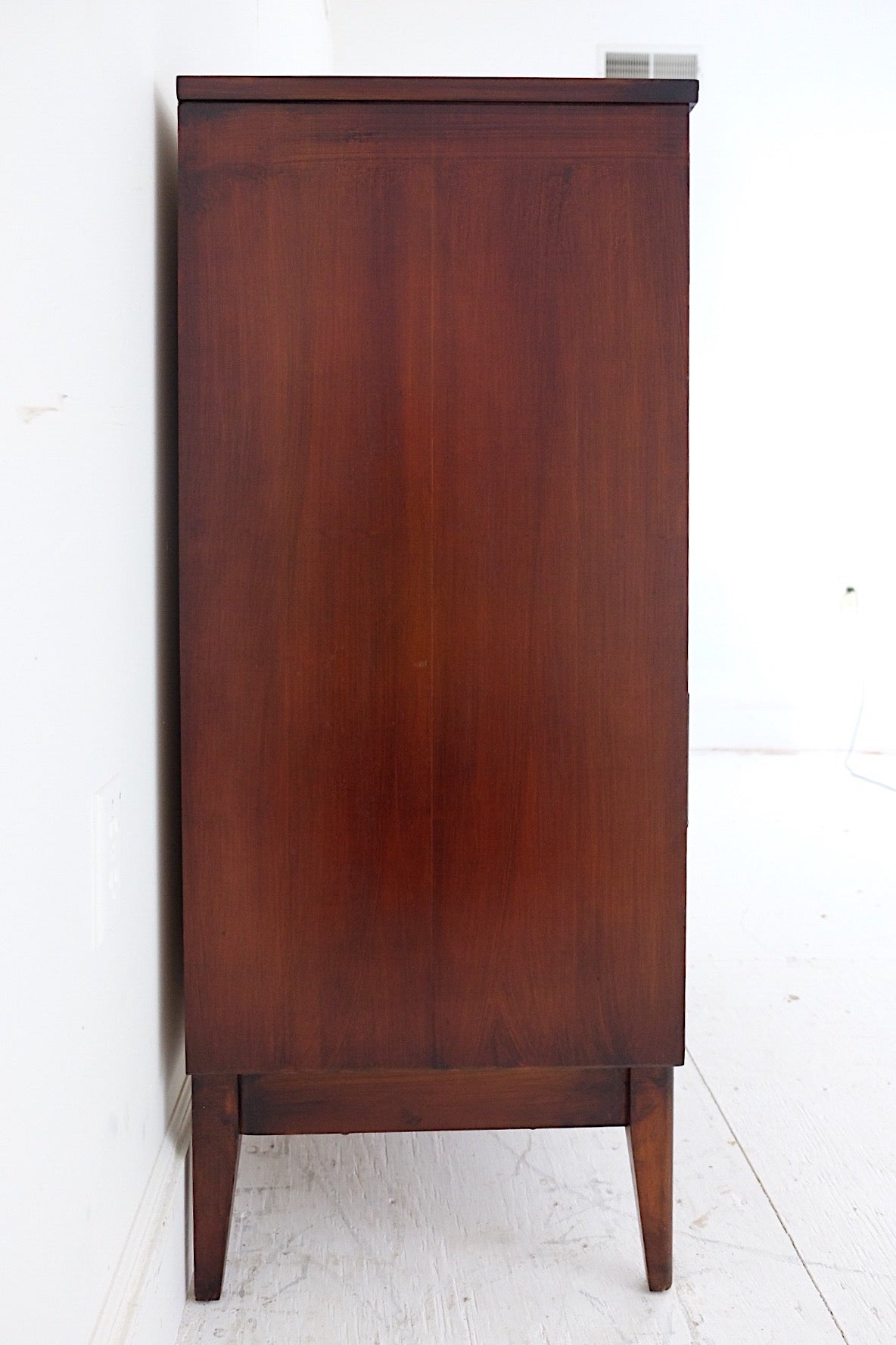 Tall Mid Century Dresser with Framed Drawer Fronts Rich Dark Brown