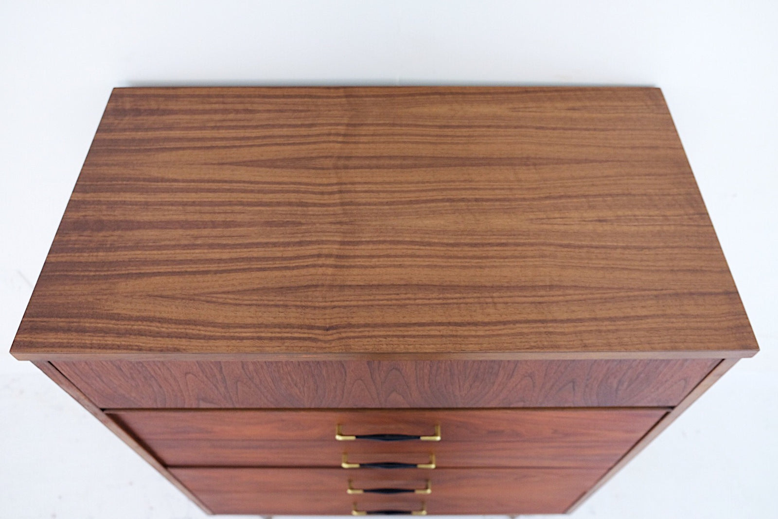 Mid Century Modern Tall Dresser Four Drawers New Cherry Veneer Top, Beautiful Black and Brass Handles