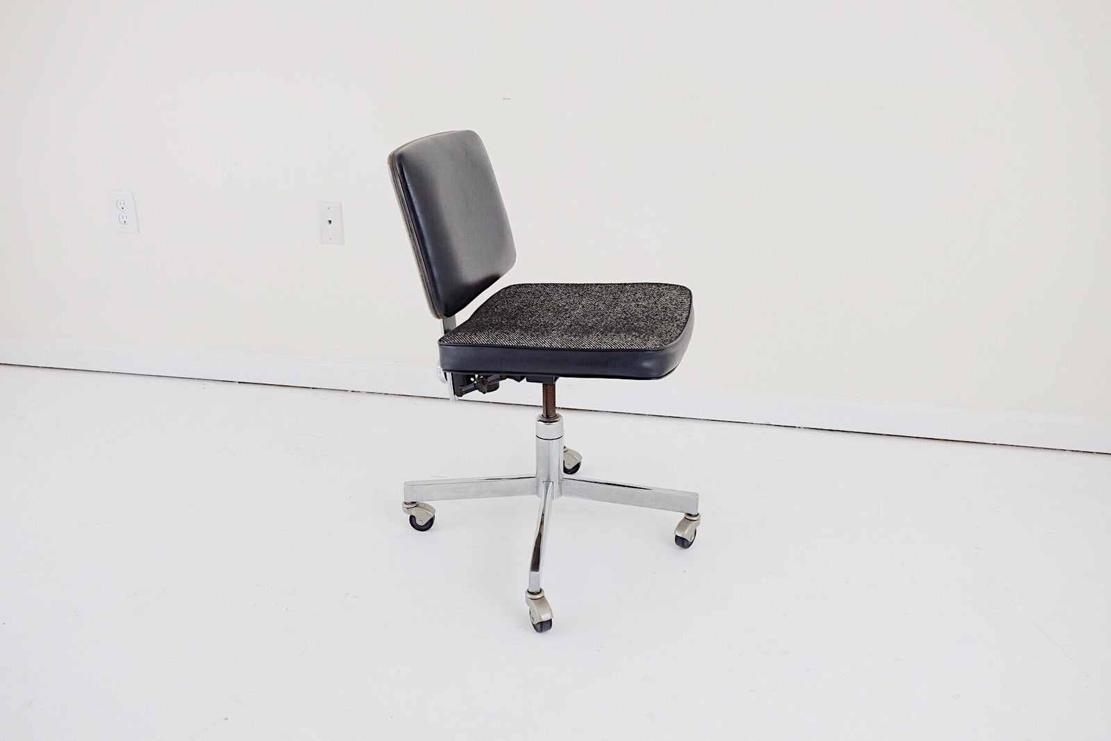Black White Steel Office Swivel Chair Tweed Seat Vintage