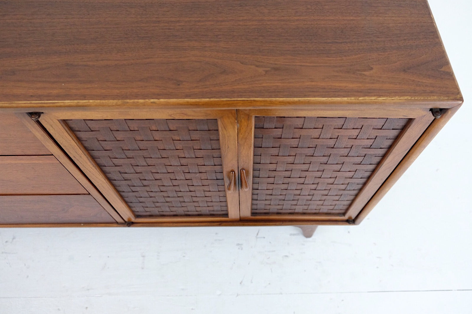 Lane Perception Cabinet and Three Drawers Mid Century Modern Carved Handles