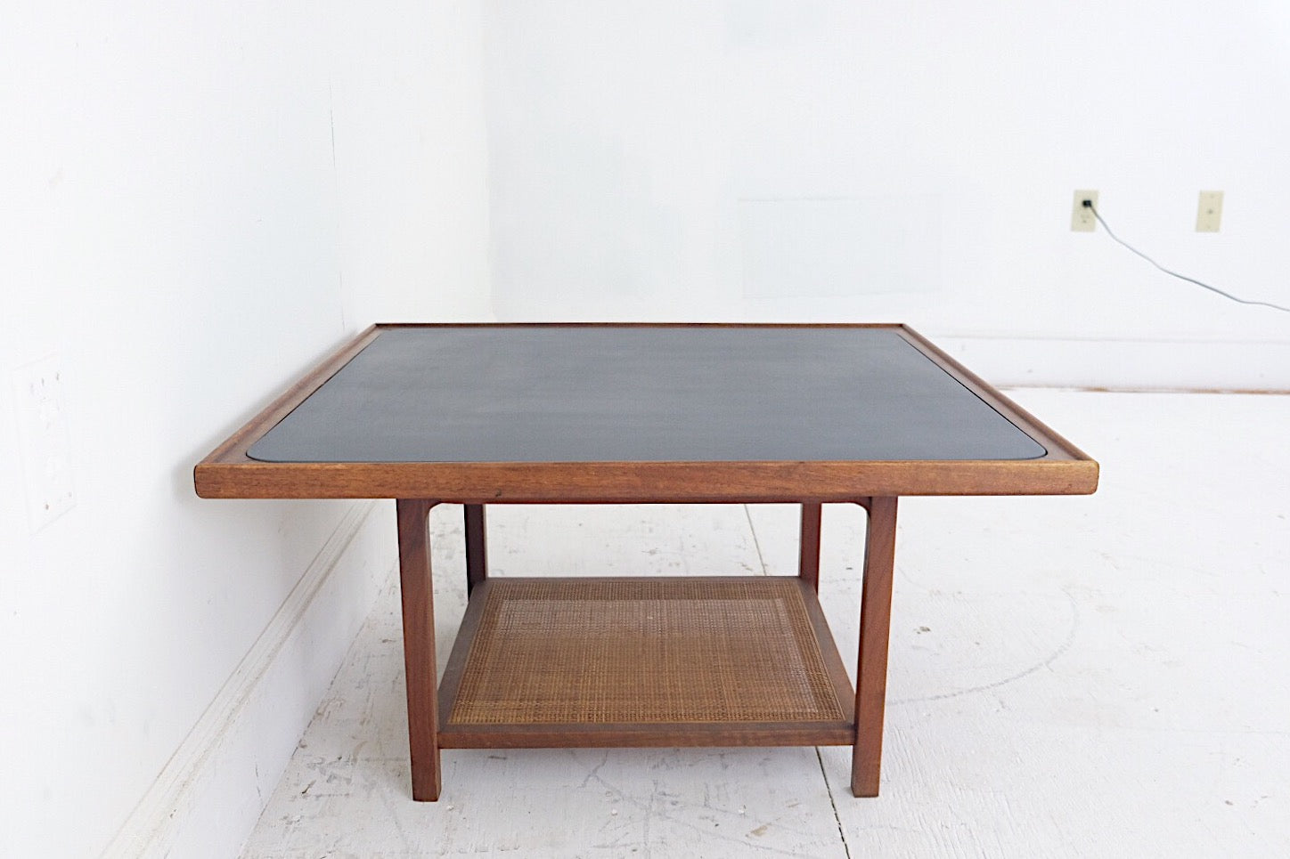 Danish Modern Square Coffee Table With Slate Top and Caned Shelf Below