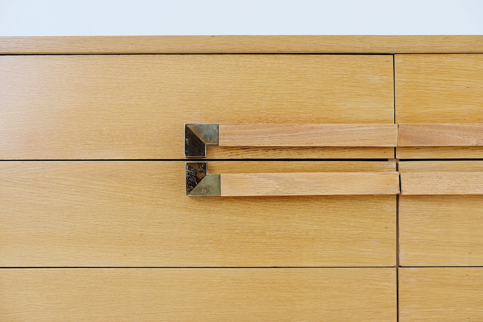 Sandy Birch Dresser Six Drawers Mid Century Or Seventies Sculptural Wooden Handles with Brass Accents