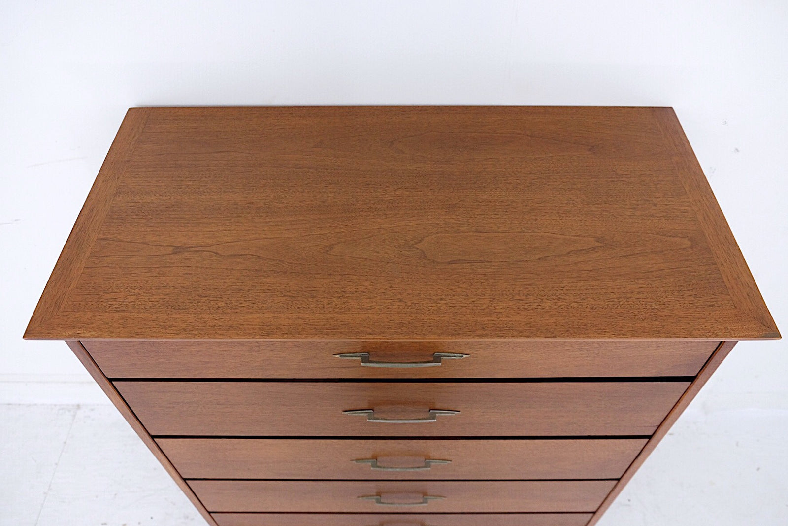 Lane Tall Mid Century Modern Dresser Five Drawers Geometric Art Deco Silver Metal Handles