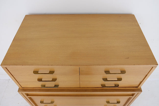 RWAY Tall Mid Century Modern Eight Drawer Dresser Brass and Carved Handles