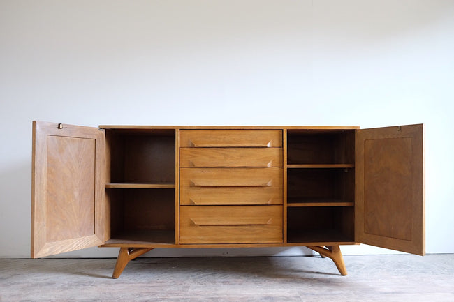 Oak Mid Century Modern Sideboard Cool Legs Two Cabinets and Four Drawers