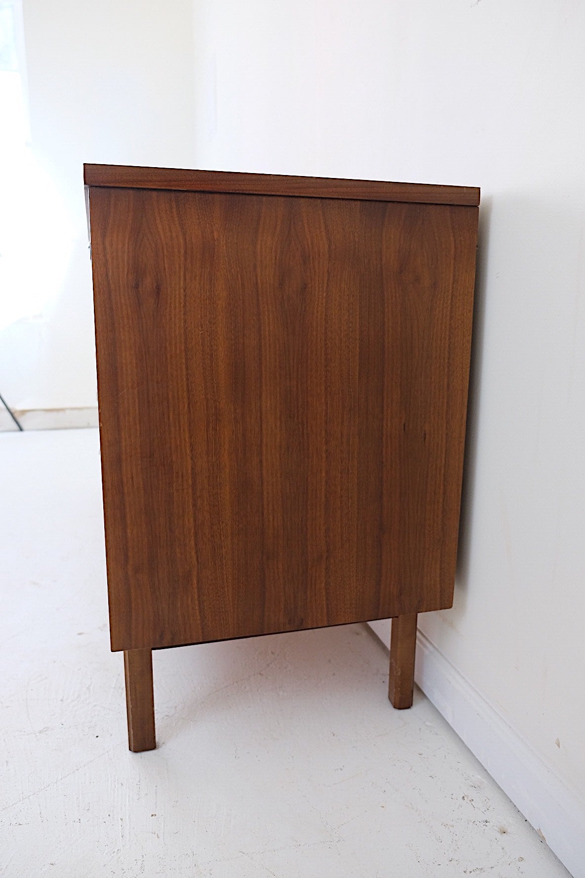 Mid Century Modern Six Drawer Lowboy with Brass Inset Handles