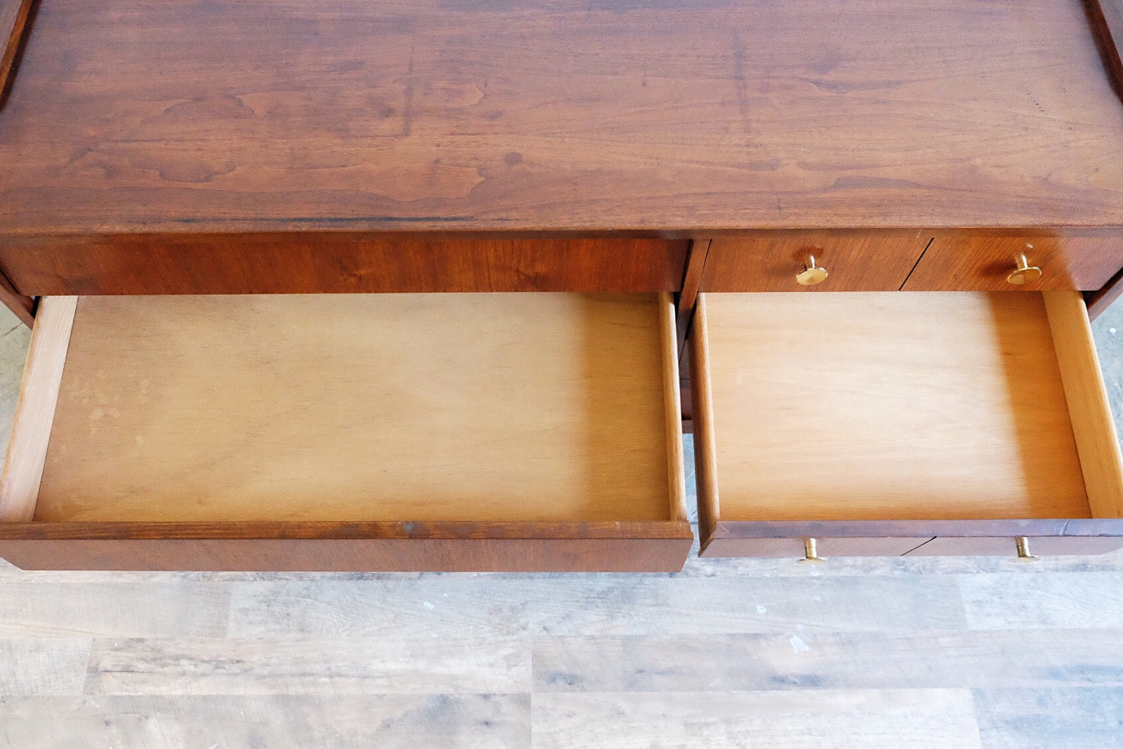 Louvered Asymmetrical Mid Century Modern Sideboard Circular Brass Vintage Surplus Handles Seven Drawers