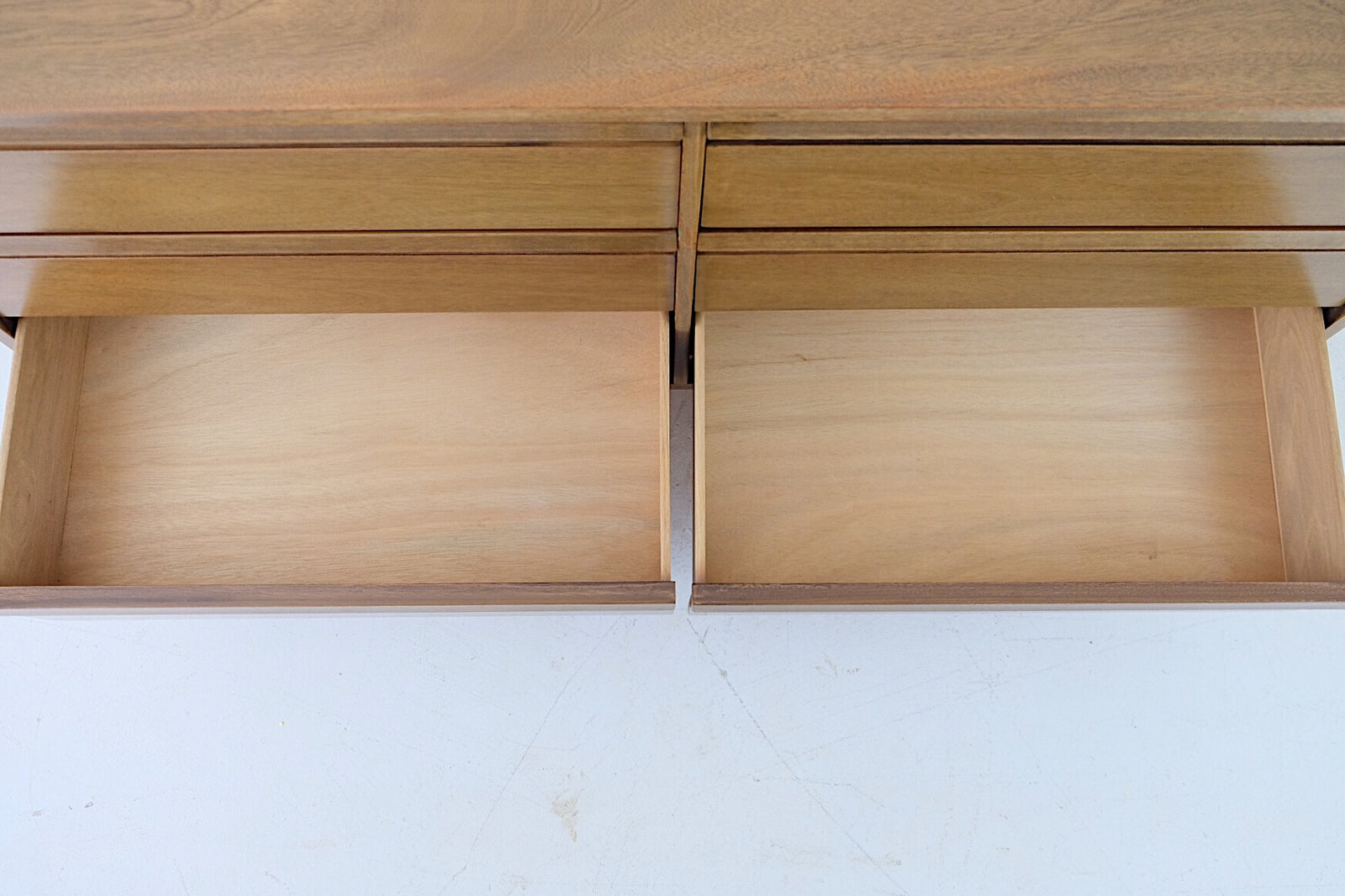 Walnut Solid Mid Century Modern Low Double Dresser Six Drawers Carved Handles