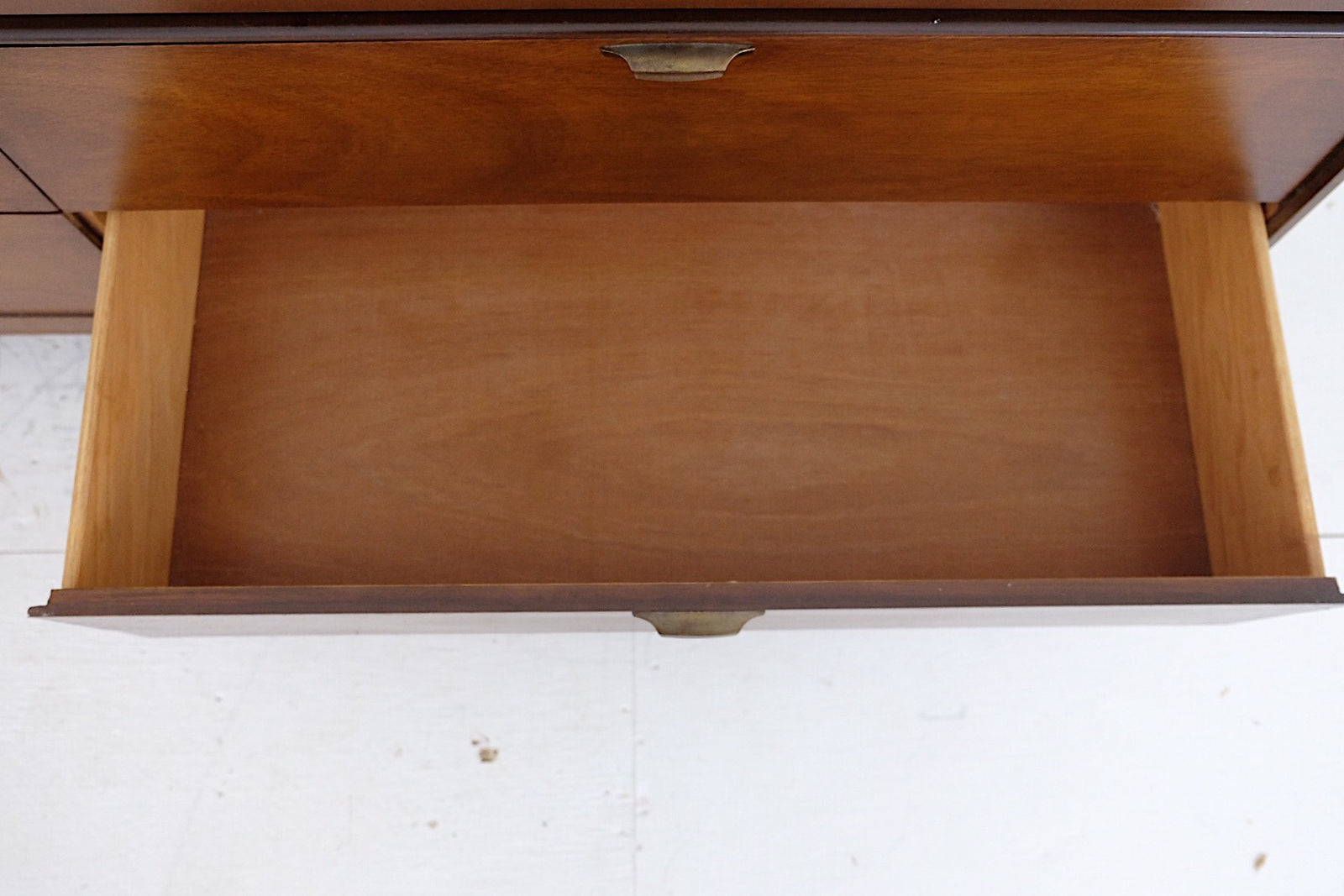 Four Leaf Clover Inlay Mid Century Long Lowboy Dresser Six Drawers