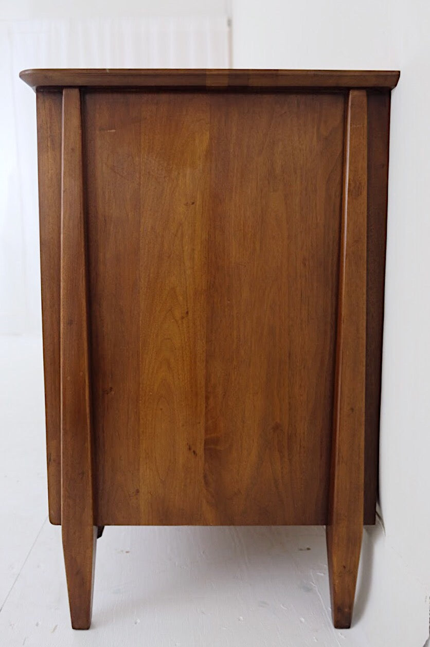 Solid American Walnut Mid Century Low Dresser Carved Tapered Wooden Handles Bronze Hardware Six Drawers