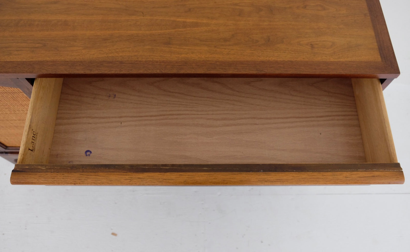 Lane Rhythm Mid Century Modern Sideboard Three Drawers Cane Door