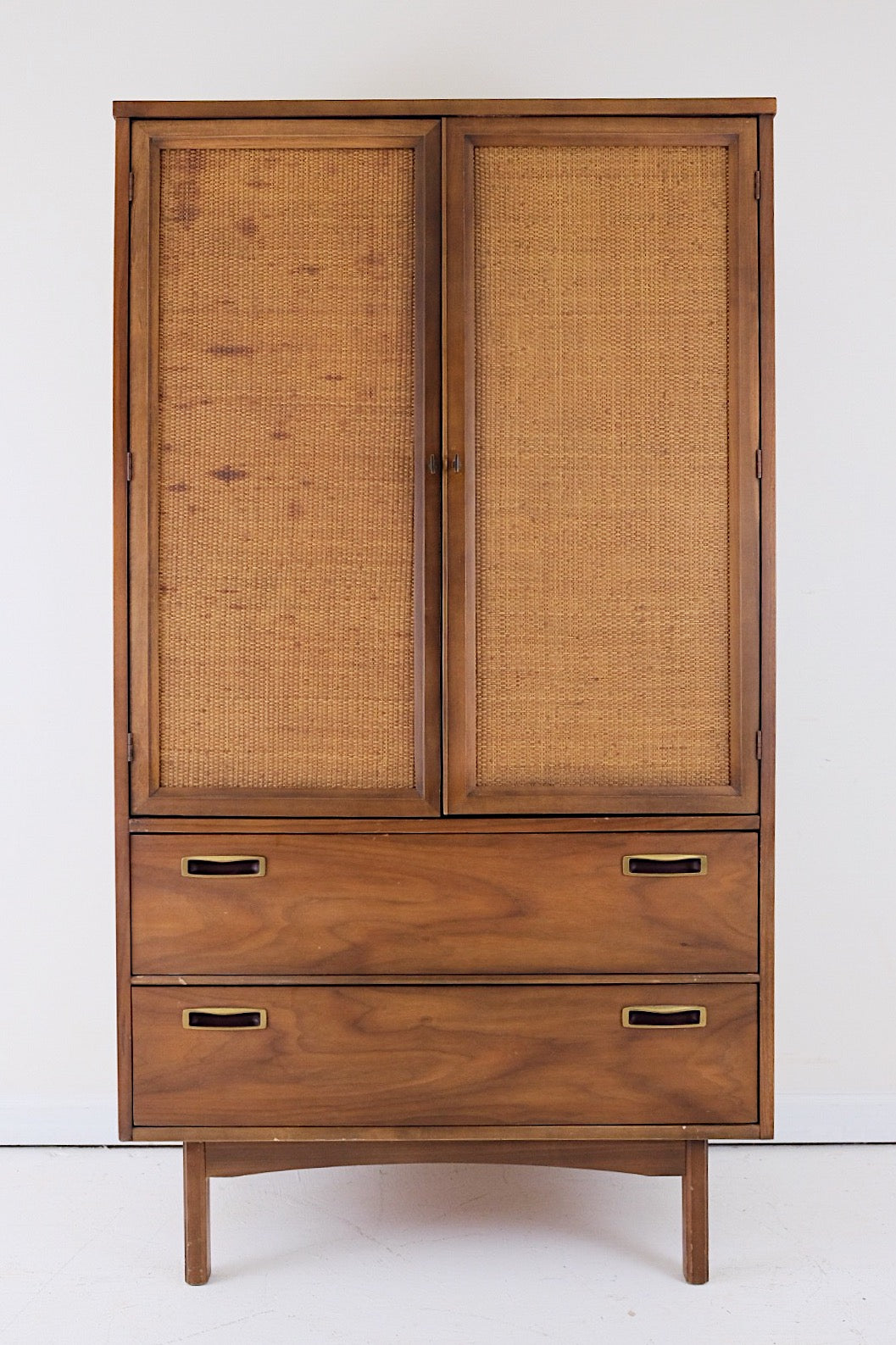 Cane Rattan Brass Wardrobe Style Of Jack Cartwright for Founders