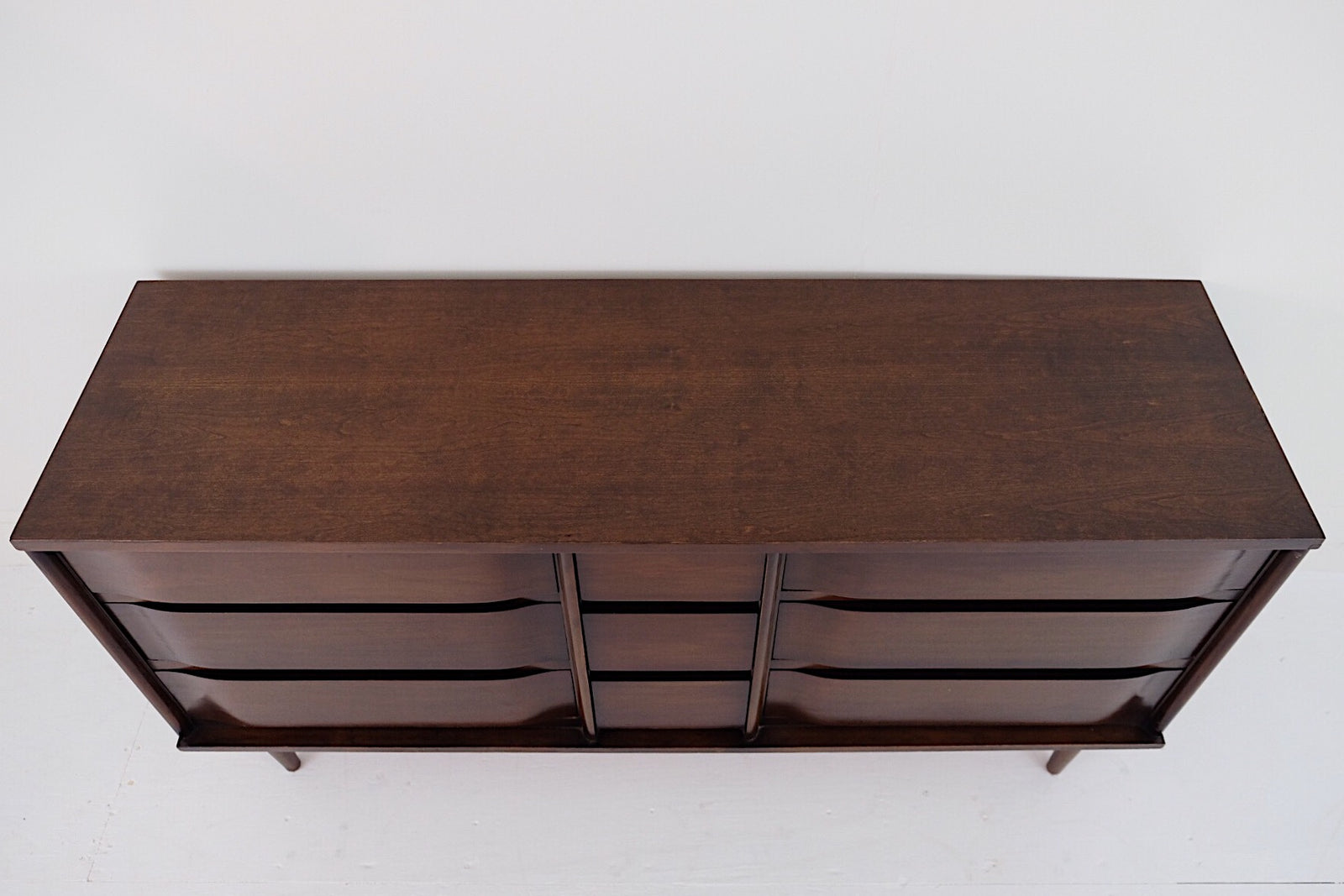 Dark Handsome Low Triple Dresser Mid Century Modern Curved Drawer Fronts Small Center Drawers