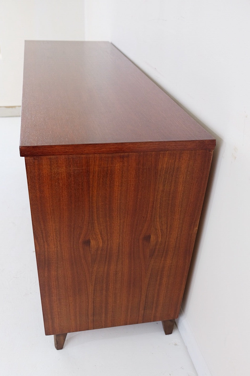 Stanley Restored Oak and Walnut Mid Century Modern Low Dresser