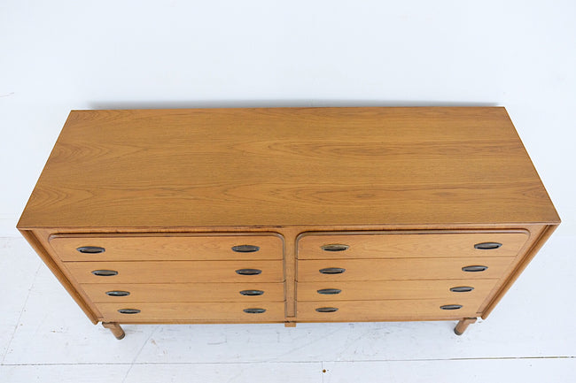 National Furniture Co. Mt Airy North Carolina Low Dresser Brass Inset Handles Rounded Brass Capped Legs Eight Drawers