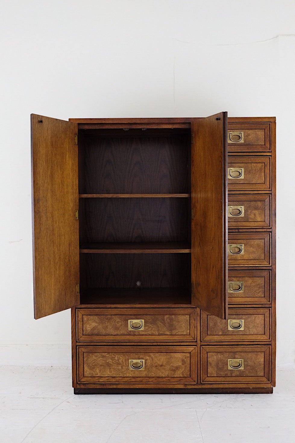 Burl Veneer Campaign Style Wardrobe Cabinet with Three Shelves Nine Drawers Brass Pulls