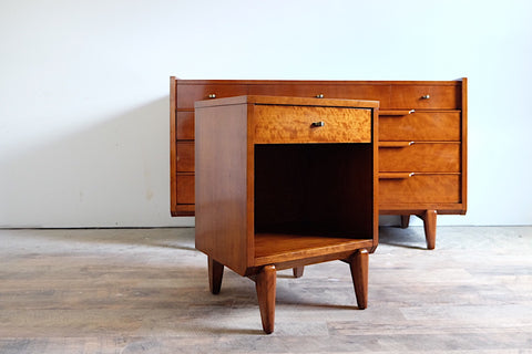 Drexel Mid Century Walnut Sideboard Buffet Bamboo Styling-Motif Brass & Black Handles Six Drawers Two Cabinets