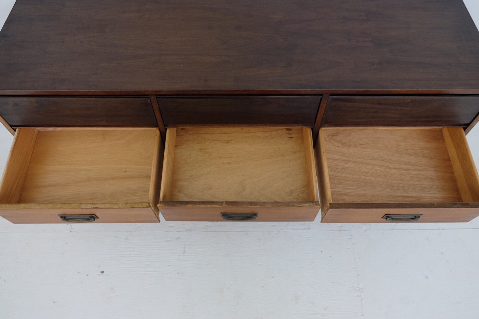 Bassett Low Chest of Drawers Two Toned Brass Handles New Walnut Veneer