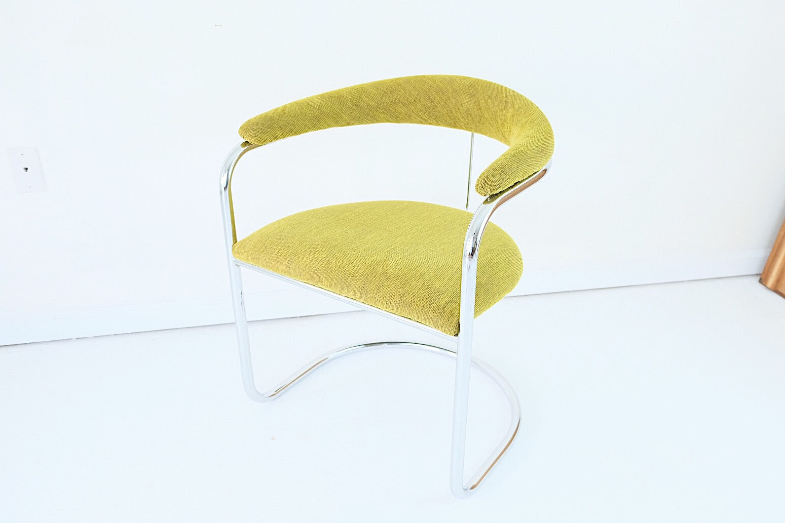 Anton Lorenz for Thonet Bent Chrome Cantilever Chair Chartreuse Tweed Upholstery