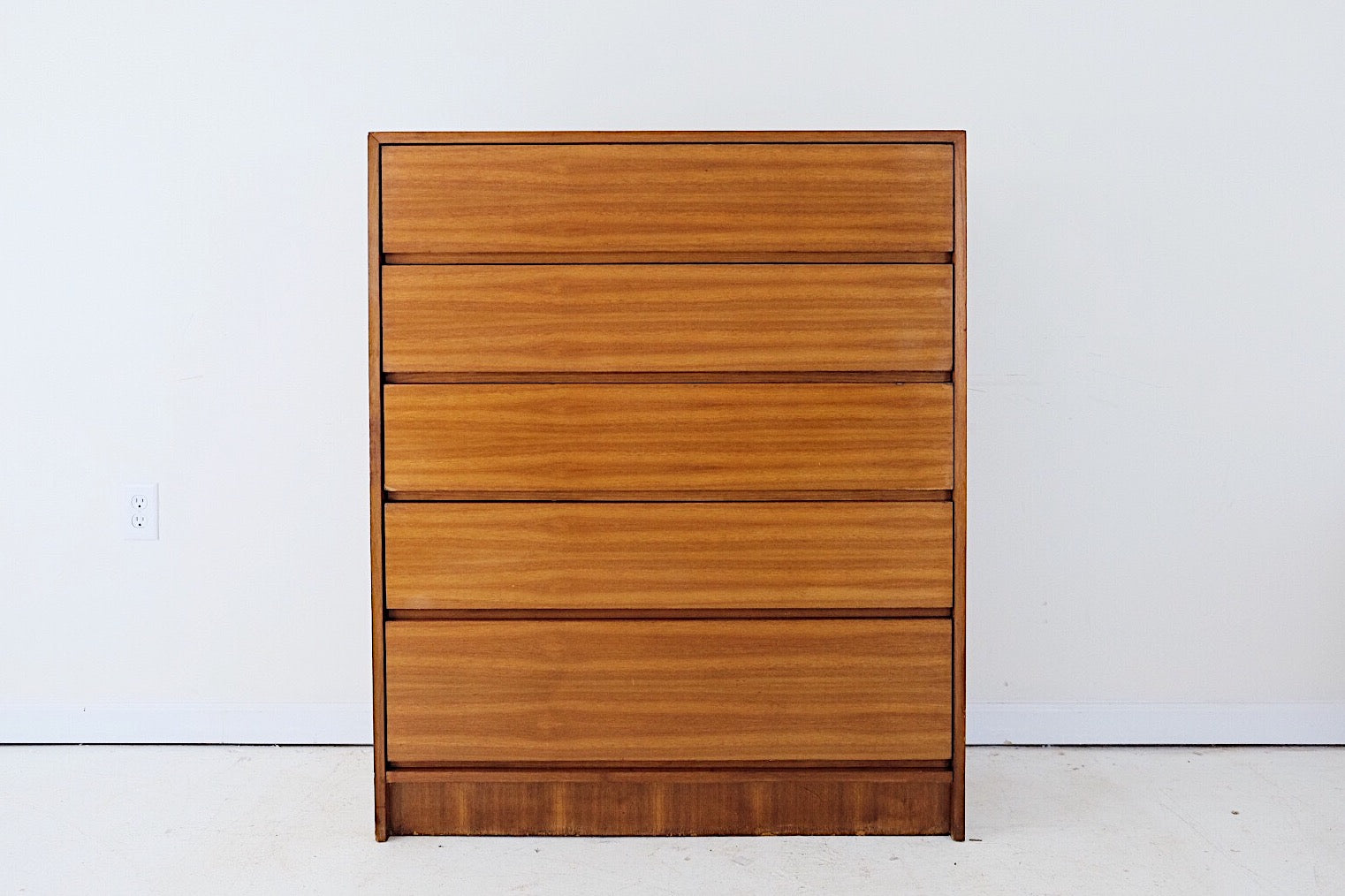 Mid Century Five Drawer Clean Minimal Tall Dresser Possibly Teak Made in Poland