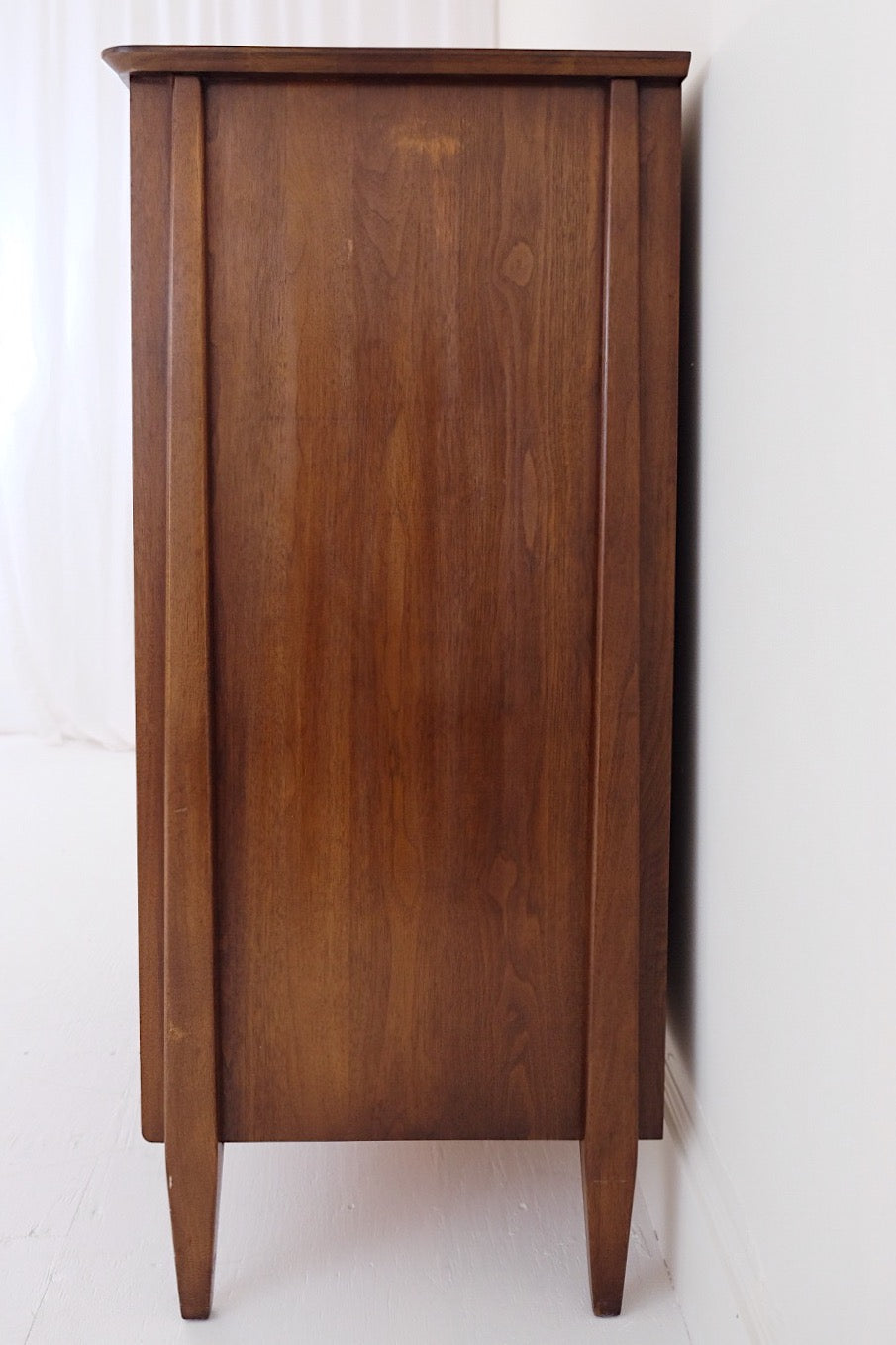 Solid American Walnut Mid Century Tall Dresser Carved Tapered Wooden Handles Bronze Hardware Six Drawers