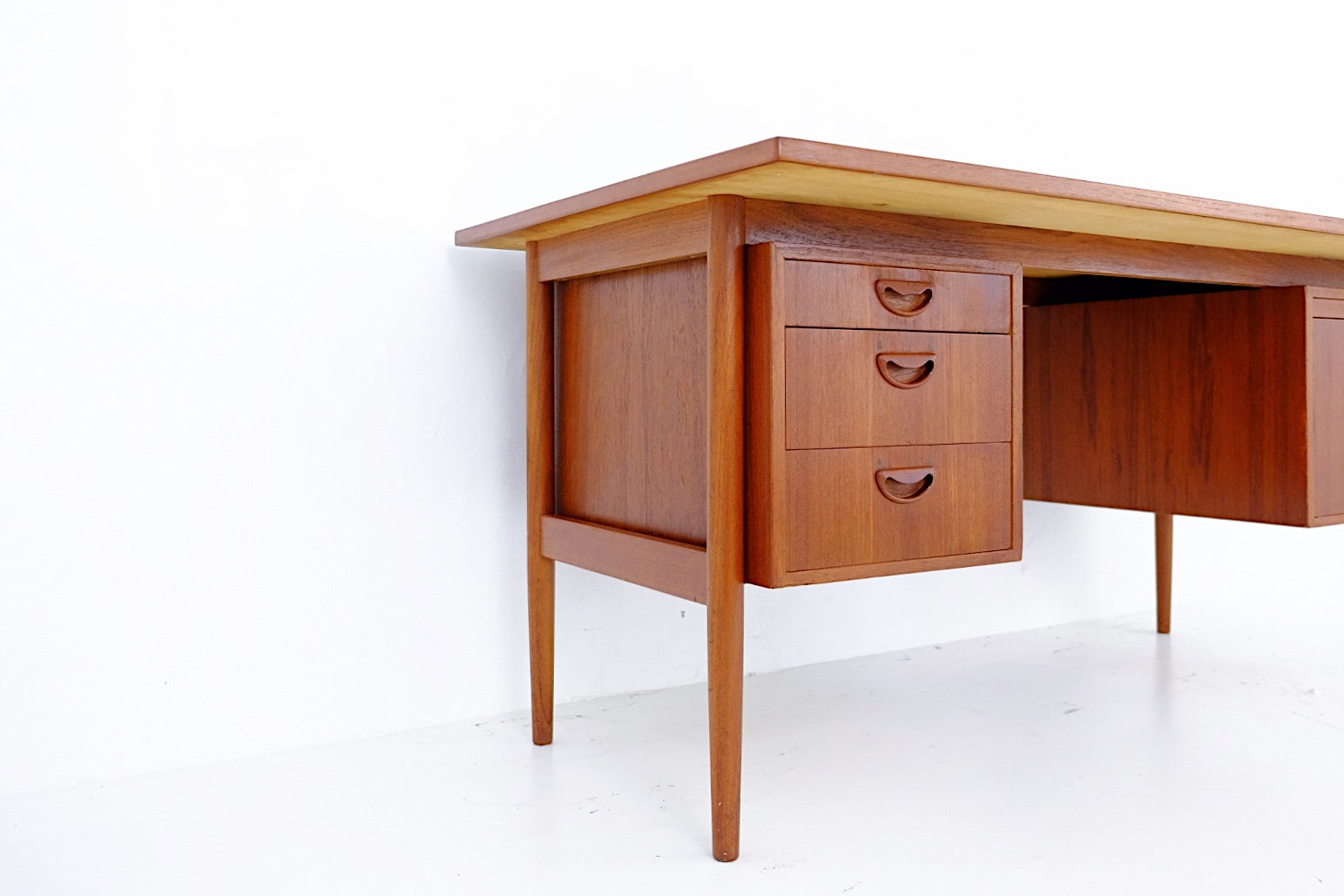 Danish Modern Teak Executive Desk with Carved Handles