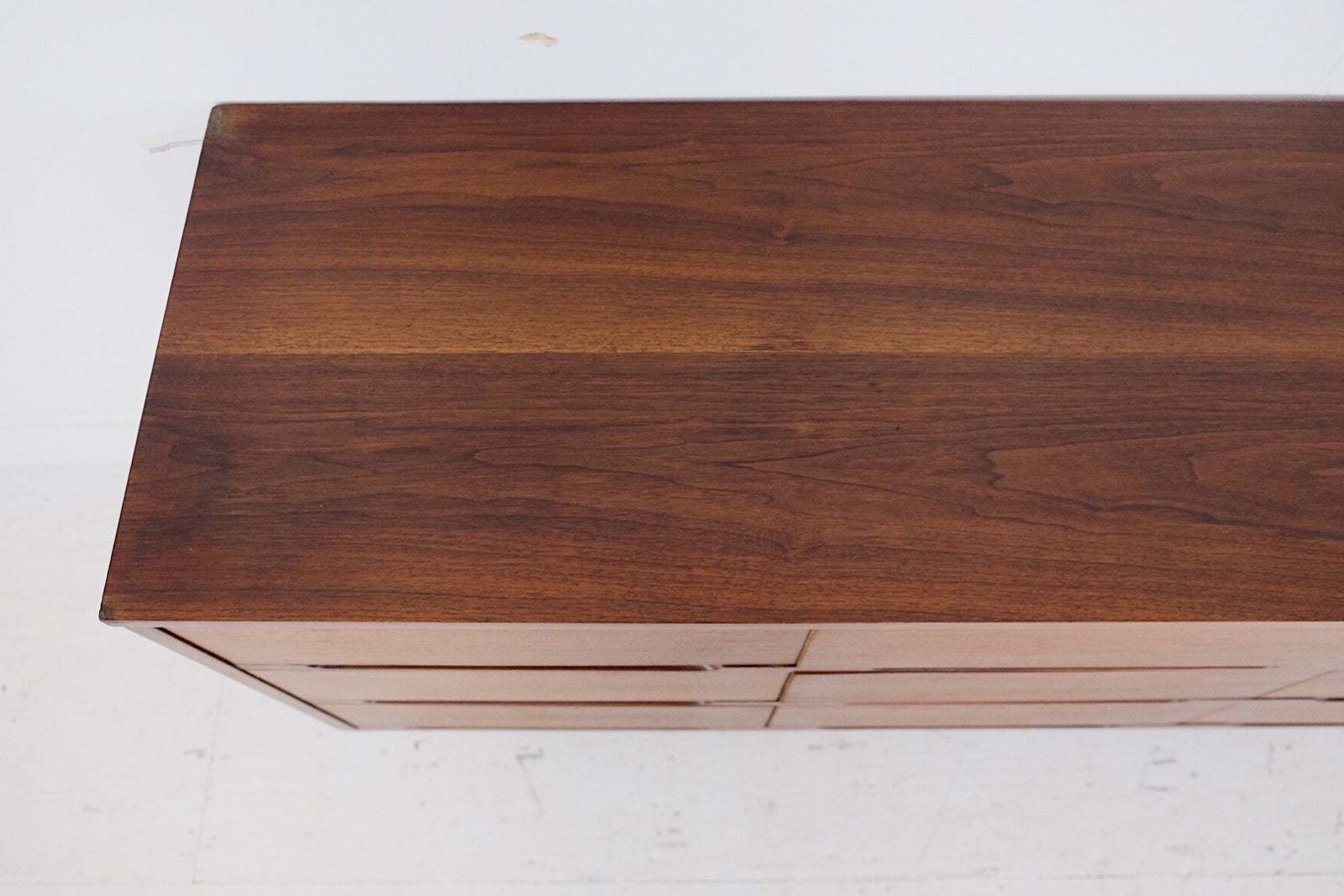Carved Scooped Handles Mid Century Modern Low Dresser Nine Drawers