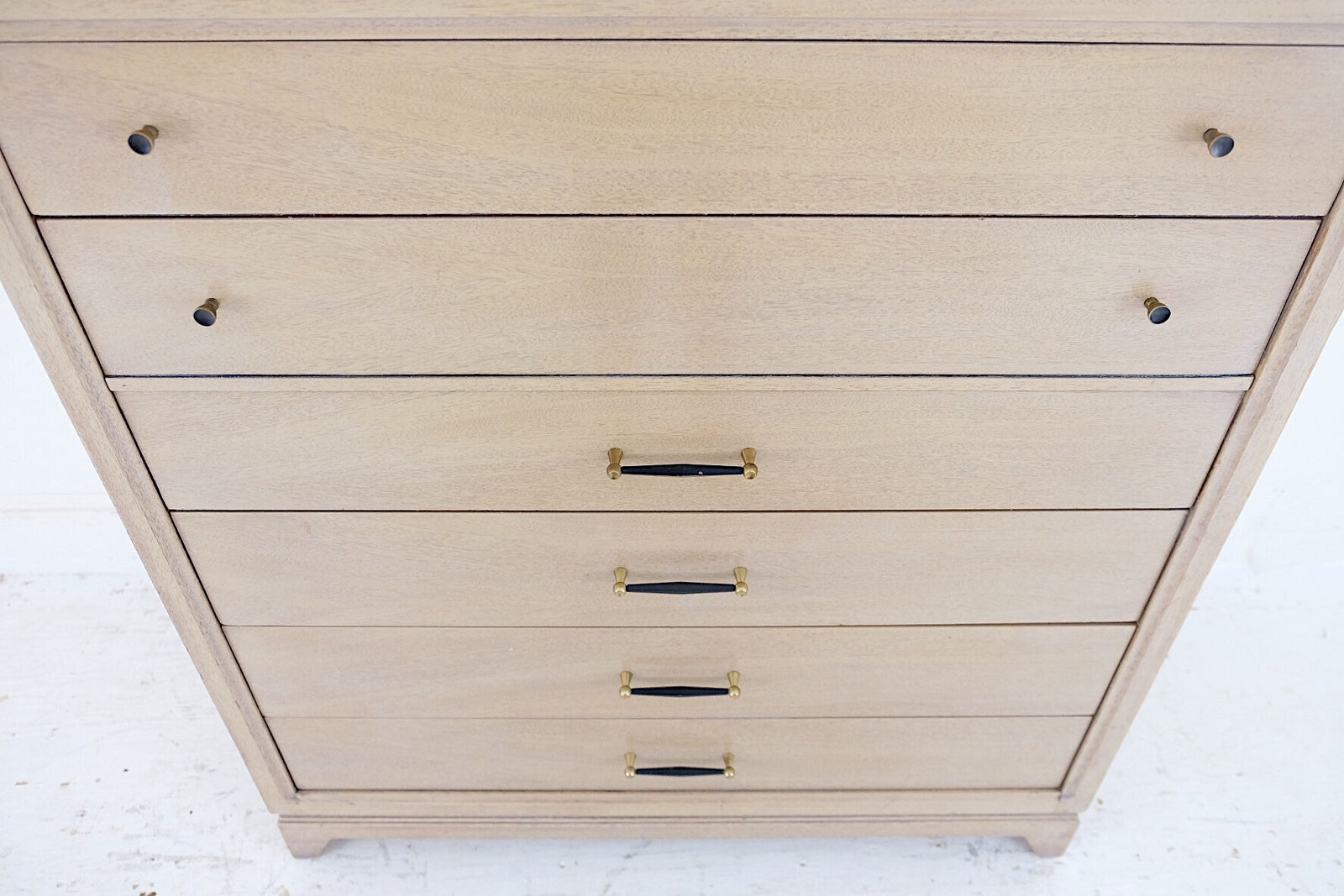 United Furniture Co Bleached White Finish Mahogany Tall Dresser Five Drawers Mid Century Art Deco Black Handles and Knobs