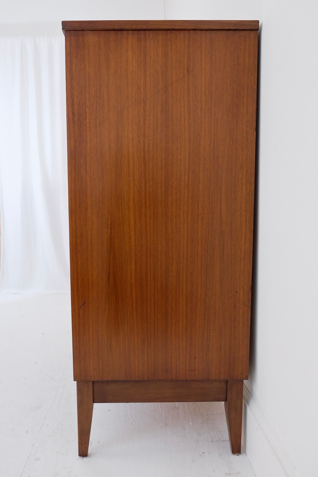 Dixie Mid Century Modern Tall Dresser Four Drawers Metal Pulls