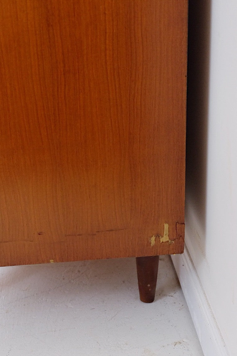 Scandinavian Walnut Mid Century Modern Low Dresser Six Drawers Carved Inset Handle Detail