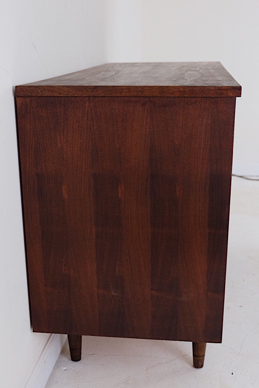 Mid Century Modern Dark Walnut Buffet Sideboard Credenza Carved Doors Silver Carved Knobs Pulls Three Drawers
