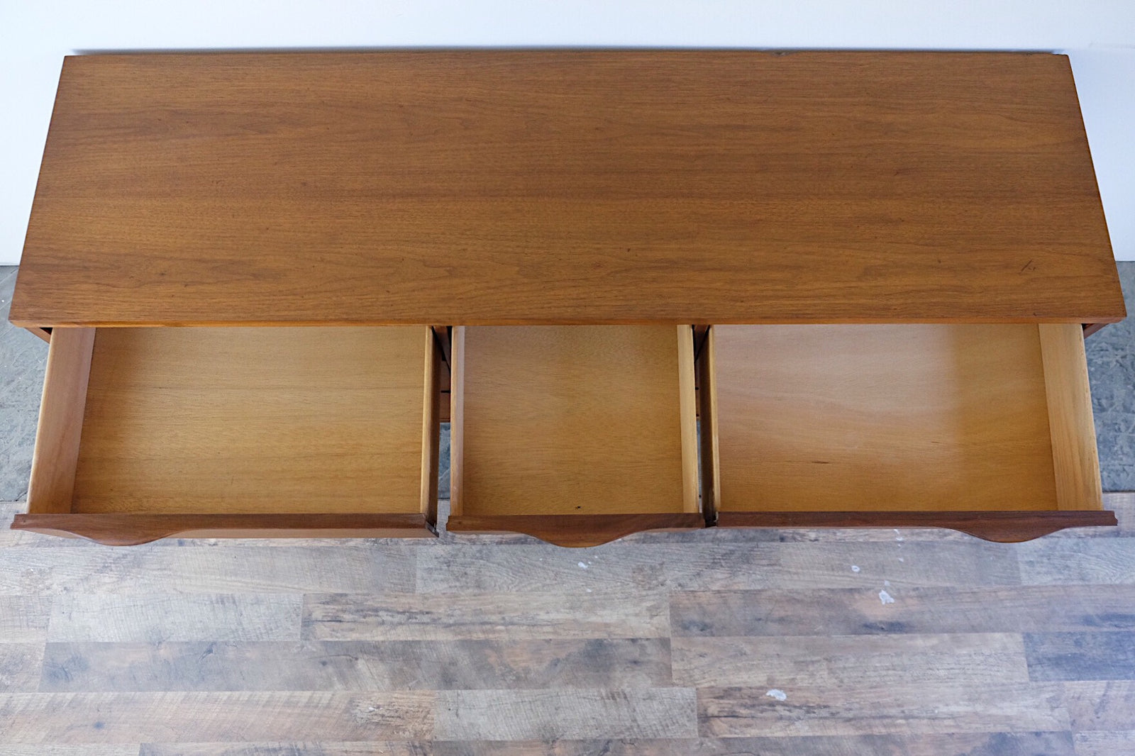 Danish Scandinavian Mid Century Modern Triple Lowboy Carved Wing Cape Handles Nine Drawers