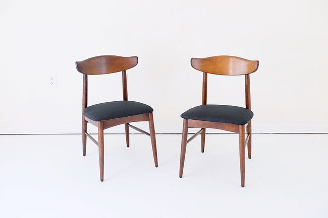 Ethan Allen Viko Baumritter Dining Chairs Black Upholstery