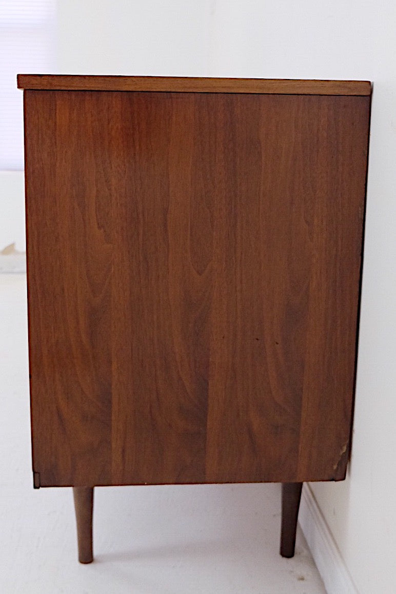 Mid Century Modern Low Double Dresser Six Drawers Carved Inset Scooped Handles