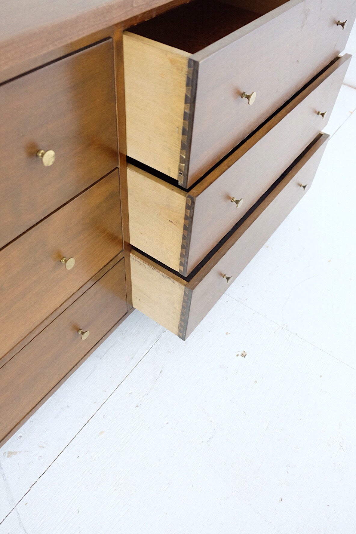 Minimalistic Six Drawer Storage Unit With Toe Kick Super Clean Lines and Beautiful Brass Knobs Dovetailed Drawers New Cherry Veneer Top and Edges
