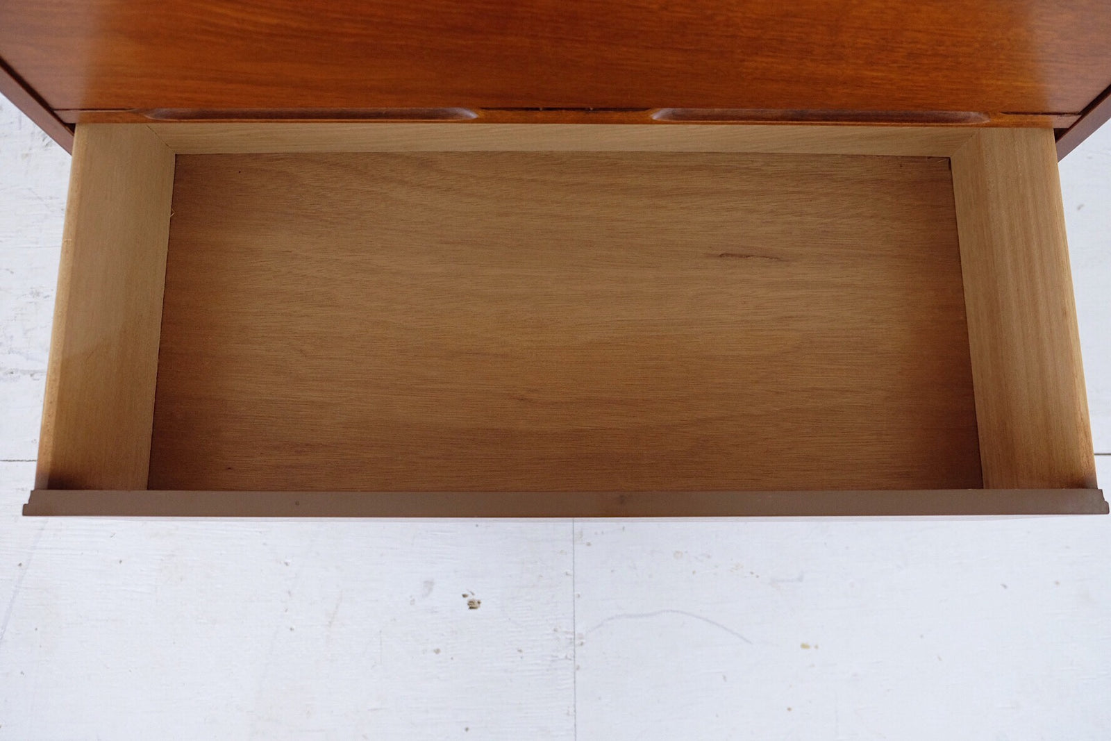 Carved Scooped Handles Mid Century Modern Tall Dresser Four Drawers